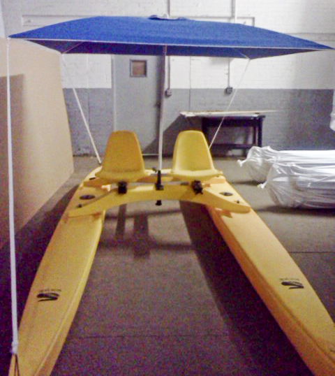 Seacycle Twin with Umbrella Anchor Shade Installed