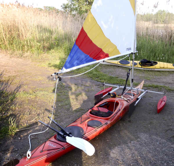 Kayak Sail Kit with Hydrodynamic Floats