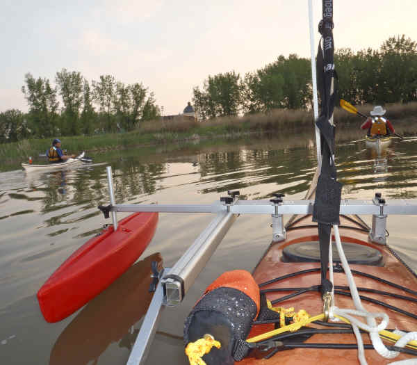 Kayak Sail Kit on the Water with Hydrodynamic Floats