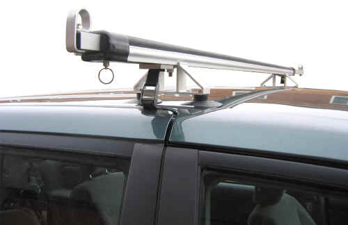 Universal roof rack close up view of loading bar end