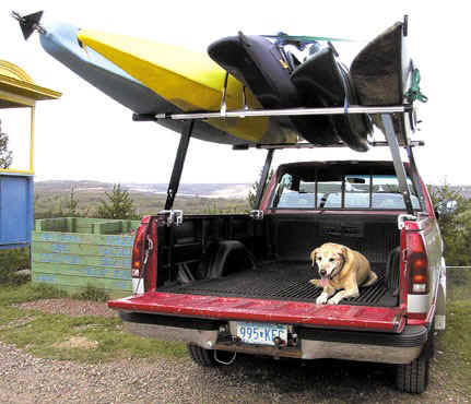 pickup truck and 5 kayaks