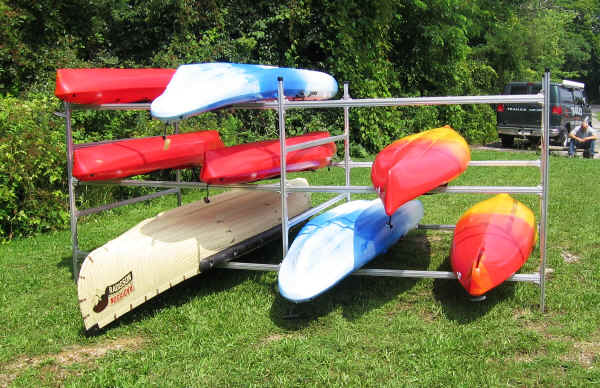 Trailex Box Style Rack with Extension Rack with Canoes and Kayaks
