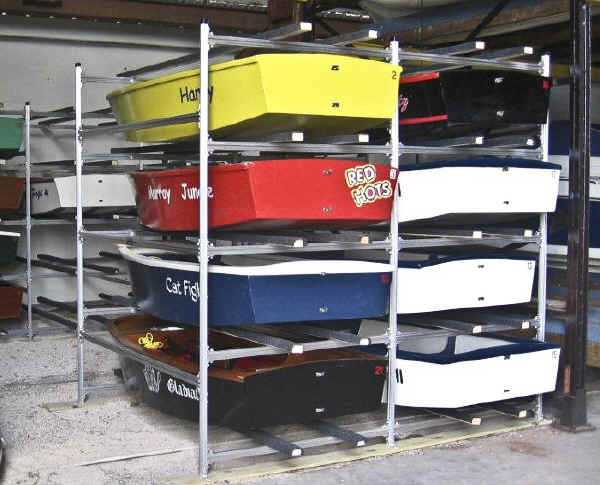 Trailex Sailboat Storage Racks with Opti - Optimists on rack