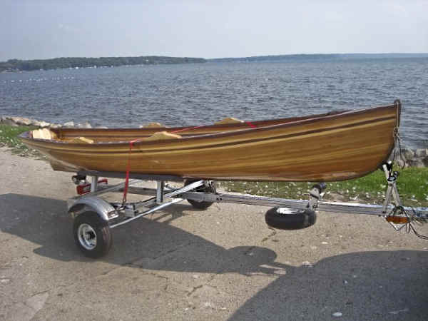 Trailex SUT-500-S trailer shown with Wooden Boat