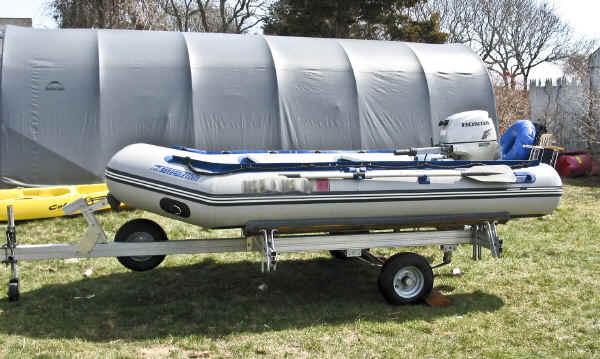 Trailex SUT-450-I Trailer with a Sea Eagle 10.6 and a Honda 9.9 Outboard