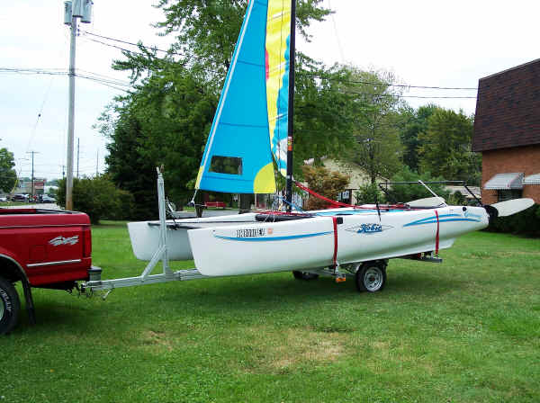 Trailex-TX-416 Trailer with a Hobie Getaway Catamaran
