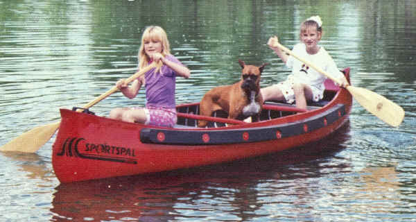 Sportspal S-14 Canoe in Red with Dog